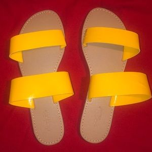 NWOT Yellow Strapped Sandals